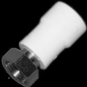 Муфта комб. с накидной гайкой. Цвет белый. Диаметры 25 мм. х 1/2 дюйма. Соединение PPR-FMET. В упаковке 30 штук.