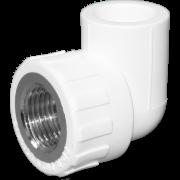 Угол 90° комб. (внутр.резьба). Цвет белый. Диаметры 20 мм. х 1/2 дюйма. Соединение PPR-FMET. В упаковке 30 штук.