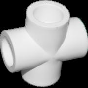 Крестовина из полипропилена. Цвет белый. Диаметр 20 мм.Соединение PPR-PPR. В упаковке 50 штук.