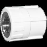 Муфта комб. (внутр.резьба). Цвет белый. Диаметры 25 мм. х 1/2 дюйма. Соединение PPR-FMET. В упаковке 30 штук.