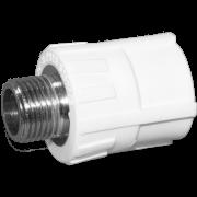 Муфта комб. (внешн.резьба). Цвет белый. Диаметры 25 мм. х 1/2 дюйма. Соединение PPR-MMET. В упаковке 25 штук.
