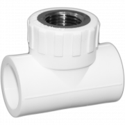 Тройник комб. (внутр.резьба). Цвет белый. Диаметры 25 мм./1/2 дюйма/25 мм.Соединение PPR-FMET-PPR. В упаковке 18 штук.
