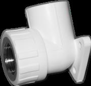 Угол 90° комб. (внутр.резьба) с креплением. Цвет белый. Диаметры 25 мм. х 3/4 дюйма. Соединение PPR-FMET. В упаковке 14 штук.