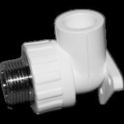 Угол 90° комб. (внешн.резьба) с креплением. Цвет белый. Диаметры 25 мм. х 1/2 дюйма. Соединение PPR-MMET. В упаковке 10 штук.