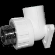 Угол 90° комб. (внешн.резьба) с креплением. Цвет белый. Диаметры 25 мм. х 3/4 дюйма. Соединение PPR-MMET. В упаковке 10 штук.
